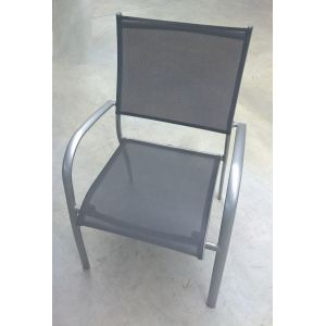 Fauteuil empilable Elegance Silver alu & tex